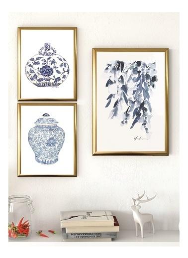 Lyn Home & Decor Çini Çerçeveli Poster 3 Lü Tablo 1 Adet 23,5X33,5 2 Adet 17,5X23,5 Altın